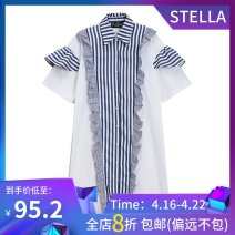 Dress Summer 2021 blue Average size Mid length dress singleton  Short sleeve commute Polo collar Loose waist stripe Single breasted Ruffle Skirt routine Others 25-29 years old Type A stella marina collezione Korean version Ruffles, folds, stitching, three-dimensional decoration, buttons