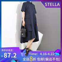 Dress Summer of 2019 blue Average size Mid length dress singleton  Short sleeve commute stand collar Loose waist Solid color Single breasted Big swing routine 25-29 years old Type A stella marina collezione Korean version Ruffles, patching, stitching, buttons