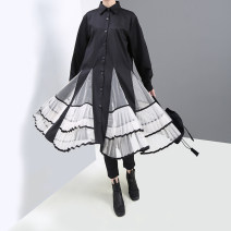Dress Autumn of 2019 Black, gray Average size Middle-skirt singleton  Long sleeves commute stand collar Loose waist Solid color Single breasted Ruffle Skirt routine 25-29 years old Type A stella marina collezione Korean version Ruffles, stitching, buttons, mesh