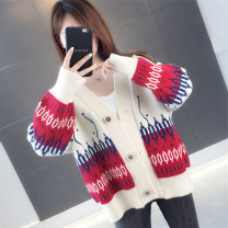 Wool knitwear Autumn 2020 S M L XL Off White Peacock Blue Navy Red Long sleeves singleton  Cardigan other More than 95% Regular routine commute easy V-neck routine Color matching Single breasted Korean version LHYZPKS010-JJJ 25-29 years old Love beauty Button Other 100% Pure e-commerce (online only)