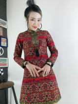 Dress Winter 2020 gules S,M,L,XL,2XL,3XL,4XL Middle-skirt singleton  Nine point sleeve commute stand collar middle-waisted Decor Socket A-line skirt routine Others 30-34 years old Type A Good luck in Europe ethnic style Bright silk, stitching, printing 51% (inclusive) - 70% (inclusive) brocade cotton