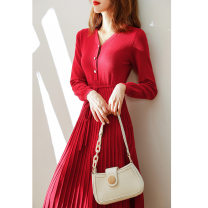 Dress Winter 2020 gules S,XL,L,M Mid length dress singleton  Long sleeves commute V-neck High waist Solid color Socket A-line skirt routine Others 25-29 years old Splicing 71% (inclusive) - 80% (inclusive) knitting other