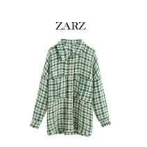 woolen coat Autumn 2020 XS,S,M,L Green Grid Imitation wool 51% (inclusive) - 70% (inclusive) Medium length Long sleeves Sweet Single breasted Bohemia