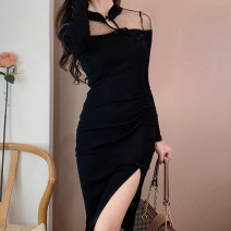 Dress Autumn 2020 Retro Red and black XS,S,M,L Mid length dress singleton  Long sleeves commute stand collar High waist Solid color Socket One pace skirt routine Retro 31% (inclusive) - 50% (inclusive)