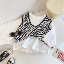 T-shirt Zebra T-shirt, rose red cartoon T, blue cartoon T, orange pink cartoon T, white cartoon T, black cartoon T, yellow cartoon t Other / other 90cm,100cm,110cm,120cm,130cm,140cm female spring and autumn Short sleeve Crew neck commute There are models in the real shooting nothing cotton stripe