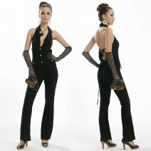 Casual pants black One size fits all Spring 2020 Jumpsuit High waist street Oulilan Guifang Europe and America