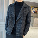 woolen coat black M,L,XL,2XL,3XL Ocnltiy Fashion City Wool 50% polyester 50% Short wool routine Other leisure Self cultivation Lapel double-breasted Exquisite Korean style houndstooth  Cloth hem spring Side seam pocket wool Sanding 30% (inclusive) - 49% (inclusive)