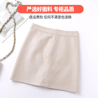 skirt Autumn of 2019 XS,S,M,L,XL,2XL Apricot, army green, off white 8808, black 8808 Short skirt Versatile skirt Solid color Type A 18-24 years old Sheepskin Other / other Sheepskin zipper