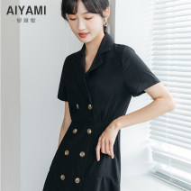 Dress Summer 2020 Black [dimension table] S M L XL Short skirt singleton  Short sleeve V-neck middle-waisted Solid color double-breasted Irregular skirt routine 18-24 years old Type A Aiya honey 9263## More than 95% polyester fiber Other polyester 95% 5%