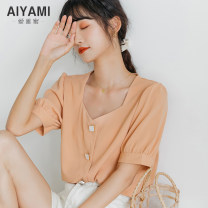 shirt Orange white [size table] S M L XL Summer 2020 polyester fiber 91% (inclusive) - 95% (inclusive) Short sleeve Versatile Regular square neck Single row multi button bishop sleeve Solid color 18-24 years old Aiya honey 9205## Button Other polyester 95% 5%