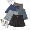 skirt Summer of 2019 S M L XL 2XL Black dark grey brown Navy black (with belt light grey (with belt dark grey) (with belt dark grey) (with belt grey Short skirt Versatile High waist Pleated skirt Solid color Type A 18-24 years old YD#-1836 71% (inclusive) - 80% (inclusive) brocade Yu Dao