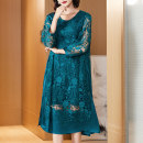 Women's large Autumn 2020 Turquoise (lace dress) XL (for 105-120 kg) 2XL (for 120-135 kg) 3XL (for 135-150 kg) 4XL 5XL 6xl Dress singleton  commute easy moderate Socket Long sleeves Simplicity Crew neck Medium length routine R20120 Lady Rui Medium length Other 100% Pure e-commerce (online only)