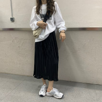 skirt Autumn 2020 Average size Red, yellow, black Mid length dress commute High waist A-line skirt Solid color 18-24 years old 30% and below Korean version