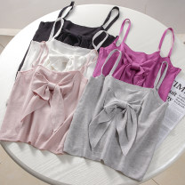 Vest sling Summer 2021 Black, white, gray, Fuchsia, pink Average size singleton  have cash less than that is registered in the accounts Self cultivation commute I-shaped Solid color 18-24 years old 51% (inclusive) - 70% (inclusive) polyester fiber backless