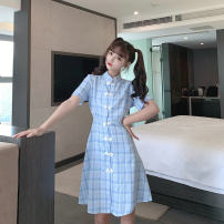 cheongsam Summer 2020 M,L,XL,2XL Light blue, pink Short sleeve long cheongsam ethnic style No slits daily Straight front lattice 18-25 years old Piping cotton 31% (inclusive) - 50% (inclusive)
