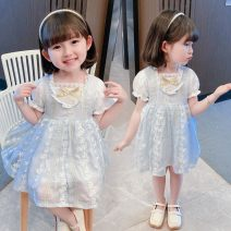 Dress wathet female Other / other 80cm,90cm,100cm,110cm,120cm,130cm Other 100% summer princess Short sleeve Embroidery Chiffon Princess Dress YJY210023 Class B 18 months Chinese Mainland