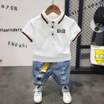 T-shirt White short sleeves, black short sleeves, grey shorts (belt), blue shorts (belt), white T-shirt + grey pants, black T-shirt + grey pants, white T-shirt + perforated pants Other / other 90cm (7), 100cm (9), 110cm (11), 120cm (13), 130cm (15) male summer Short sleeve Lapel and pointed collar