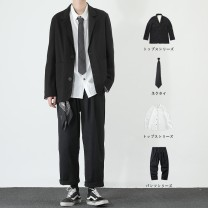 man 's suit Others Youth fashion routine easy Double breasted Other leisure No slits teenagers Long sleeves Four seasons routine Youthful vigor Casual clothes Flat lapel Straight hem Solid color Regular collar (collar width 7-9cm) 2020 Three dimensional bag No iron treatment Multiple pockets