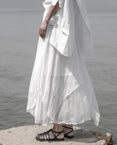 skirt Summer of 2019 Average size white longuette street Natural waist Pleated skirt Type A YDB-190412191 Other / other Fold, asymmetry, web