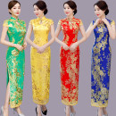 cheongsam Summer 2020 S,M,L,XL,2XL,3XL Red, yellow, blue, rose, green Short sleeve Qipao Retro Low slit banquet Round lapel Solid color Over 35 years old Embroidery Other / other silk 30% and below