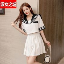 Dress Summer 2020 White two-piece set, black two-piece set S,M,L,XL,2XL Short skirt Two piece set Short sleeve Sweet Admiral middle-waisted Solid color Socket Pleated skirt routine Others 18-24 years old Type A Other / other Pastes cloth, splicing, three-dimensional decoration, zipper QZYQX20070501SN