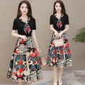 Dress Summer 2020 Red, black, red long sleeves, black long sleeves M,L,XL,2XL,3XL,4XL Mid length dress Fake two pieces Short sleeve commute Crew neck middle-waisted Decor A-line skirt Korean version