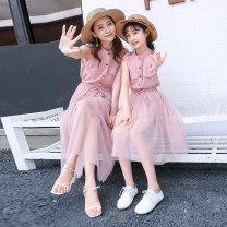 Parent child fashion Pink, grayish blue Women's dress female Other / other 110 (90-115cm), 120 (115-125cm), 130 (125-135cm), 140 (135-145cm), 150 (145-150cm), mom s (80-95kg), mom m (95-105kg), mom L (105-115kg), mom XL (115-135kg) summer college routine Solid color suit L,M,S,XL,XXL other