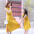 Parent child fashion Pink yellow Women's dress female Other / other 110 (90-115cm) 120 (115-125cm) 130 (125-135cm) 140 (135-145cm) 150 (145-155cm) Mom s (80-95kg) Mom m (95-105kg) Mom L (105-115kg) Mom XL (115-135kg) A17 summer leisure time routine Solid color skirt L M XL A17 Class B