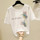 T-shirt White, black, pink S,M,L,XL Summer 2020 Short sleeve Crew neck easy Regular routine other 86% (inclusive) -95% (inclusive) originality Animal design Sequins