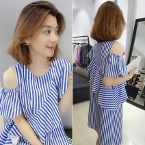 Dress Summer 2020 blue S,M,L Mid length dress singleton  Short sleeve street Crew neck Loose waist stripe Socket routine Others 30-34 years old Fanlis F182n01453p 51% (inclusive) - 70% (inclusive) other other Europe and America