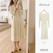 Dress Spring 2021 Picture color S,M,L,XL Mid length dress singleton  Long sleeves commute V-neck High waist Solid color zipper Pleated skirt shirt sleeve 18-24 years old Other / other lady Fold, lace up polyester fiber