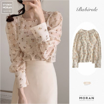 shirt Shirt, skirt S,M,L,XL Spring 2021 Cashmere 71% (inclusive) - 80% (inclusive) Long sleeves commute Regular Crew neck Socket puff sleeve Broken flowers 18-24 years old Straight cylinder Other / other Korean version Chiffon