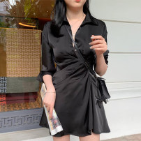 Dress Spring 2021 Black quarter sleeve, white quarter sleeve, black short sleeve, white short sleeve S,M,L,XL Short skirt singleton  commute V-neck High waist Solid color Single breasted A-line skirt shirt sleeve Type A Ol style 51% (inclusive) - 70% (inclusive) other polyester fiber
