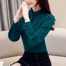 shirt White [regular], dark green [regular], black [skirt], white [velvet], dark green [velvet], caramel [velvet] S,M,L,XL,2XL,3XL Autumn of 2019 other 96% and above Long sleeves commute Regular stand collar Socket shirt sleeve Solid color 25-29 years old Straight cylinder Korean version
