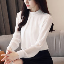 Lace / Chiffon Autumn of 2019 Red, white, black, gray, black [skirt] S,M,L,XL,2XL Long sleeves commute Socket singleton  easy Regular stand collar Solid color routine 18-24 years old Korean version 96% and above polyester fiber