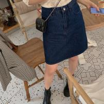 skirt Summer 2021 S,M,L navy blue Short skirt commute High waist A-line skirt Solid color Type A cotton Korean version