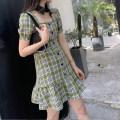 Dress Summer 2020 Green check S,M,L Short skirt singleton  Short sleeve commute square neck High waist lattice puff sleeve Type A Korean version