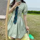 Dress Summer 2020 S,M,L singleton  Short sleeve Sweet High waist Solid color Single breasted Pleated skirt puff sleeve Type A More than 95% cotton college