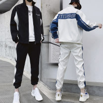 Leisure sports suit autumn M,L,XL,2XL,3XL Blue, black, white Long sleeves Other / other Ninth pants teenagers Sweater polyester fiber 2020