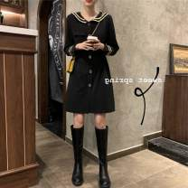 Dress Spring 2020 black Average size Mid length dress singleton  Long sleeves commute Admiral High waist other Single breasted other routine Others 18-24 years old Type A Korean version