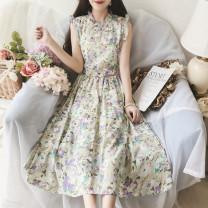 Dress Summer 2020 Blue green, purple pink, purple green M, L Mid length dress singleton  Sleeveless Big swing Others