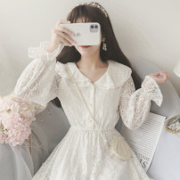 Dress Spring 2020 Apricot, off white Average size Short skirt singleton  Long sleeves Sweet Elastic waist Solid color Socket Big swing Others Type A Lace