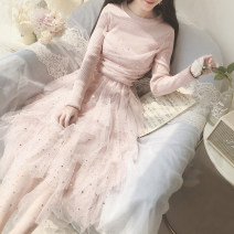 Dress Autumn of 2019 Pink, cream, blue Average size Mid length dress singleton  Long sleeves Sweet Crew neck High waist Solid color Socket Cake skirt Others 18-24 years old Type A Stitching, sequins, mesh