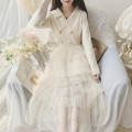 Dress Autumn 2020 White, pink Average size Mid length dress singleton  Long sleeves Sweet Solid color knitting