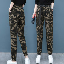 Casual pants Camouflage overalls S,M,L,XL,2XL Autumn of 2019 trousers Overalls High waist commute routine 25-29 years old 91% (inclusive) - 95% (inclusive) Other / other Korean version pocket cotton
