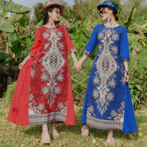 Dress Spring 2020 Red, green, blue M (90-105 kg recommended), l (105-120 kg recommended), XL (120-135 kg recommended), XXL (135-150 kg recommended) three quarter sleeve commute Crew neck Loose waist 18-24 years old ethnic style Print, pocket 51% (inclusive) - 70% (inclusive) hemp