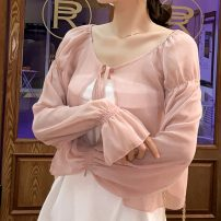 Lace / Chiffon Summer 2020 Apricot, pink S,M,L,XL Long sleeves Versatile Cardigan singleton  easy have cash less than that is registered in the accounts V-neck Solid color pagoda sleeve 30-34 years old Frenulum 31% (inclusive) - 50% (inclusive) polyester fiber