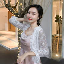 Lace / Chiffon Spring 2021 white S,M,L,XL,2XL Long sleeves Versatile Cardigan singleton  easy have cash less than that is registered in the accounts V-neck Solid color pagoda sleeve 30-34 years old Pleating 31% (inclusive) - 50% (inclusive) polyester fiber