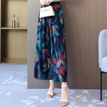 Casual pants Summer 2021 Ninth pants Wide leg pants High waist commute Thin money Other / other pocket Asymmetry