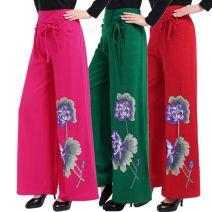Casual pants Summer 2021 Wide leg pants High waist Embroidery